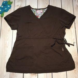 Koi women's Katelyn wrap solid scrub top